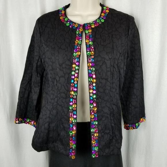 Analogy jacket size S petite black rhinestones